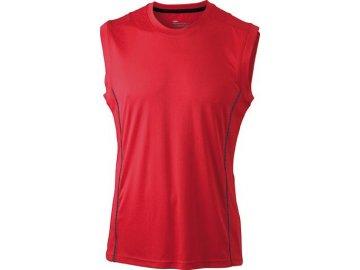 Pánský běžecký top s reflexními prvky a antibakteriální ochranou červená