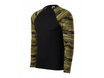 Pánské černé triko s dlouhým rukávem v barvě camouflage zelená