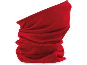 Hřejivý fleece tubus s navazujícím prodyšným nákrčník červená