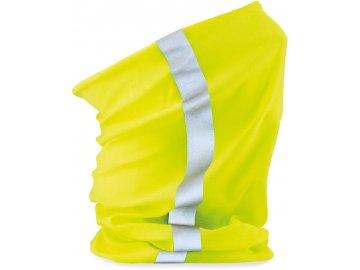 Prodyšný multifunkční tubus, šátek s reflexním pruhem fluo žlutá