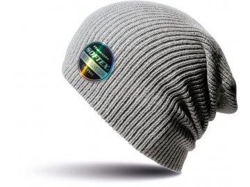Prodloužená dvojitě pletená lehká čepice šedá uhlová