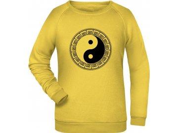Dámská mikina Jin Jang v klasickém střihu žlutá