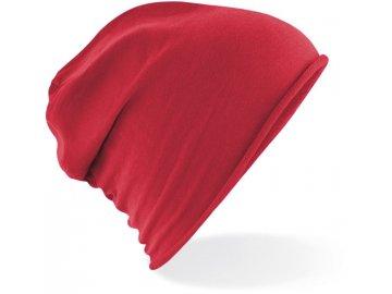 Lehká bavlněná čepice s rolovaným lemem červená