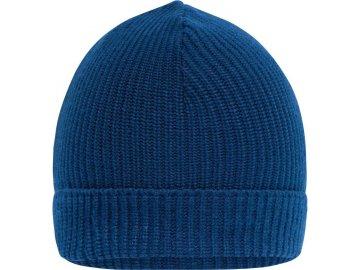 Příjemná pracovní zimní čepice klasického střihu tmavě královská modrá