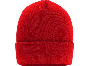 Klasická zimní čepice s extra velkým okrajem červená