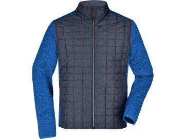 Pánská pletená fleecová bunda ve stylovém mixu materiálů modrá