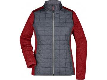 Dámská pletená fleecová bunda ve stylovém mixu materiálů červená