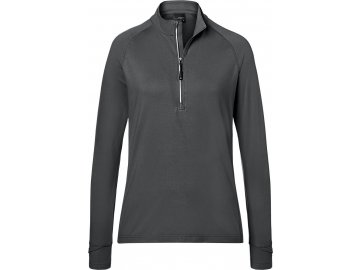 Dámské outdorové triko s dlouhým rukávem a 1/3 zipem ke krku carbon