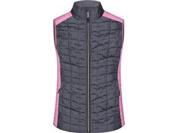 Dámská hybridní vesta ve stylovém mixu materiálu růžový melír