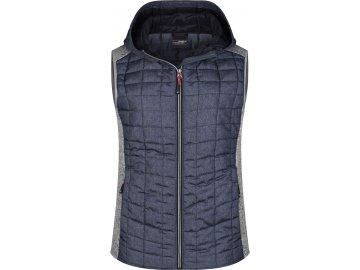 Dámská hybridní vesta s kapucí ve stylovém mixu materiálu světlý melír