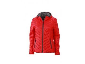 Dámská oboustranná bunda s vláknem Sorona s kapucí, červená