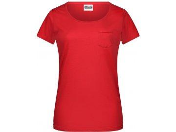 Dámské tričko z Bio bavlny s náprsní kapsou červená