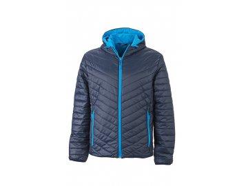 Pánská oboustranná bunda s vláknem Sorona s kapucí modrá námořní