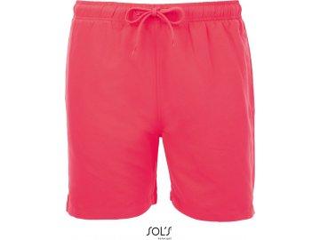Pánské plavecké šortky neonově korálová