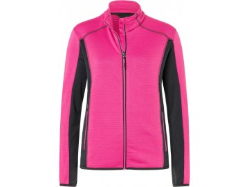 Dámská elastická bunda z měkkého hladkého fleece růžová