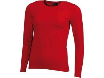 DámDámské elastické triko s dlouhými rukávy červená