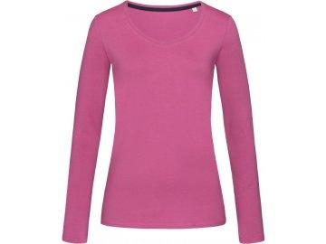 Dámské elastické tričko s dlouhým rukávem Claire růžová