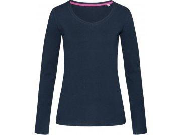 Dámské elastické tričko s dlouhým rukávem Claire modrá námořní