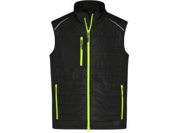Softshellová vesta v kombinaci materiálů černá - neonová žlutá