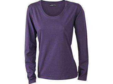 Lehce zúžené dámské triko s dlouhými rukávy a hlubokým výstřihem temně fialová