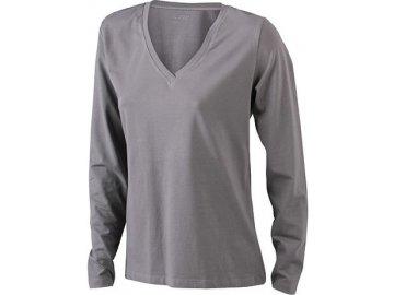 DámElastické dámské triko s dlouhými rukávy a výstřihem do V