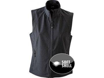 Stylová dámská třívrstvásoftshellová vesta černá