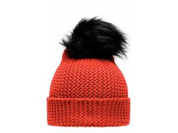 Zimní, hrubě pletená čepice s velkou bambulí červená grenadina