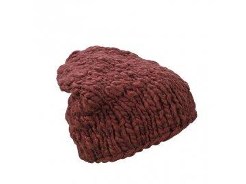 Zimní hrubě pletená zimní čepice vínová