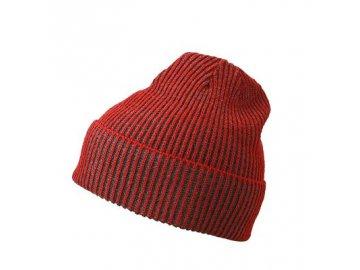 Atraktivní zimní čepice s lemem červená