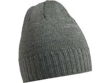 Těsně přiléhající pletená čepice s žebrovanými okraji šedá tmavá
