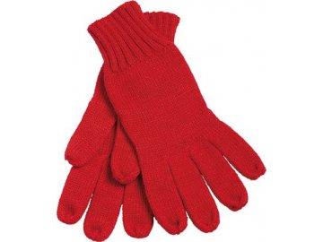 Pletené rukavice s žebrovanými lemy červená