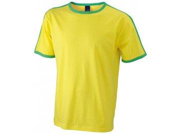 Pánské tričko s kontrastními pruhy na ramenou žlutá