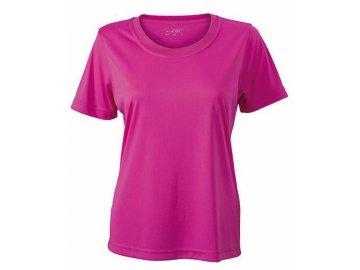 Dámské funkční tričko s krátkým rukávem vhodné pro volný čas a sport růžová