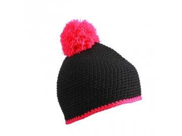 Zimní čepice - Pompon Hat with Contrast Stripe