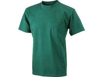 Klasické odolné pánské tričko s náprsní kapsou zelená