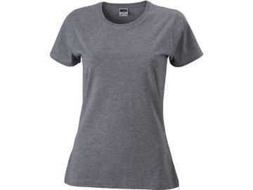 Dámské vypasované tričko s kulatým výstřihem melír