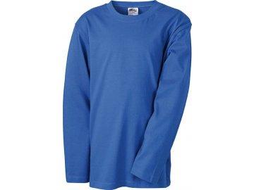 Kvalitní dětské tričko s dlouhým rukávem modrá královská