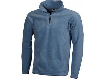 Mikina z těžkého fleecu s polovičním zipem modrá