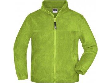 Dětská mikina bunda z teplého fleece zelená limetka