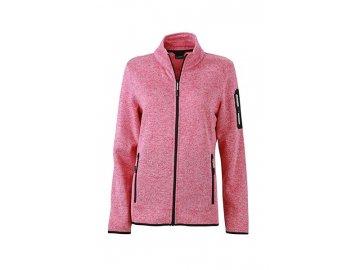 Módní bunda z pleteného fleecu v melírovném vzhledu, růžová