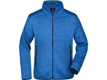 Pánská módní bunda z pleteného fleecu v melírovaném vzhledu modrá