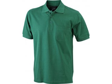 Klasické pánské tričko polo s krátkým rukávem a kapsou zelená