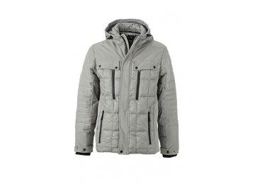 Pánská stylová prošívaná zimní bunda šedá