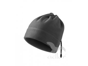 Praktická unisexová fleecová čepice na stažení elastickou šňůrkou šedá