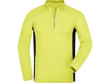 Pánské běžecké triko s dlouhými rukávy žlutá