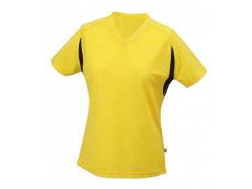 Dámské běžeckPohodlné dámské běžecké tričko s krátkým rukávem a výstřihem do V žlutá