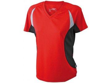 Dámské běžecké prodyšné tričko s výstřihem V červená