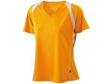Dámské běžeckéDámské běžecké prodyšné triko s výstřihem do V s kontrastními vsadkami oranžová