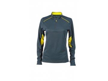 Běžecké tričko s dlouhým rukávem a krátkým zipem ke krku šedá žlutá lemon