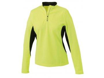 Dámské běžecké triko s dlouhými rukávy a reflexním potiskem fluo žlutá